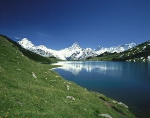 ベルナーオーバーランドの山々とアルプ湖 スイスの写真素材 [FYI03198323]