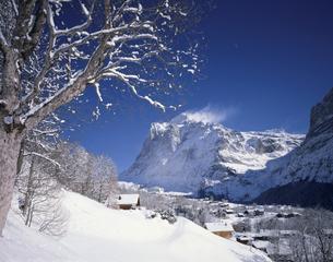 冬の民家とウ゛ェッターホルン  グリンデルワルト スイスの写真素材 [FYI03198404]