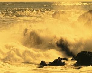 砕ける波の夕景 銚子 千葉県の写真素材 [FYI03198607]