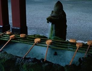 霧島神宮の手水とひしゃく 鹿児島県の写真素材 [FYI03199505]