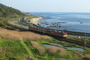 日本海と羽越本線のローカル列車の写真素材 [FYI03200004]