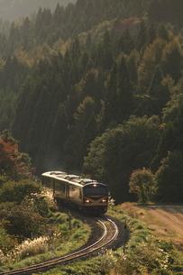 秋の山間をゆくリゾートみのり号の写真素材 [FYI03200111]