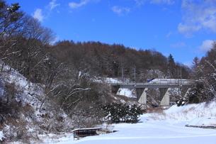 雪の南軽井沢をゆくE7系北陸新幹線の写真素材 [FYI03200325]