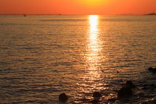幕張から見る東京湾の夕日の写真素材 [FYI03202340]