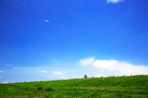 緑の土手を行くサイクリング車の写真素材 [FYI03202722]