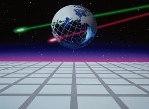 地球を突き抜ける2つの光線 CGのイラスト素材 [FYI03203012]