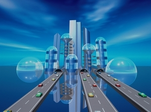 未来的都市のビル群に続く道路と車 CGのイラスト素材 [FYI03203035]
