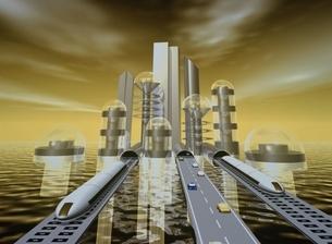 未来的都市に続く道と乗り物 CGのイラスト素材 [FYI03203044]