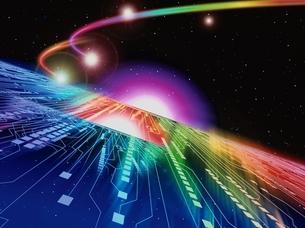 宇宙を走るカラフルな光線のイメージ CGのイラスト素材 [FYI03203046]