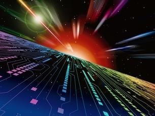 宇宙を走るカラフルな光線のイメージ CGのイラスト素材 [FYI03203047]