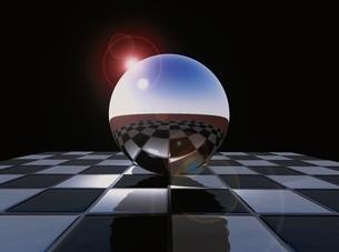 球体に映った市松模様 CGのイラスト素材 [FYI03203057]