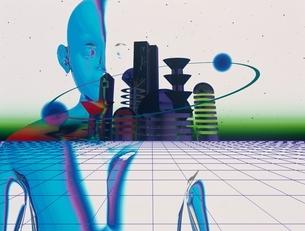 上半身半分の人イメージと未来都市 CGのイラスト素材 [FYI03203058]