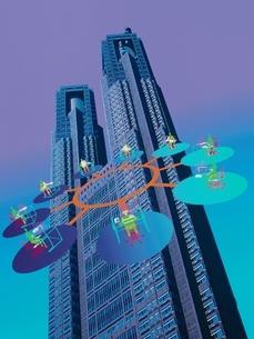 相関図のイメージと高層ビルの合成 CGのイラスト素材 [FYI03203061]