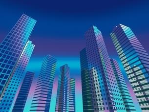 空に向かってそびえ立つ高層ビル群 CGのイラスト素材 [FYI03203068]