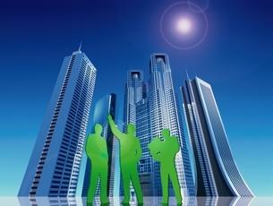 高層ビル群の下に立つ3人の人イメージ CGのイラスト素材 [FYI03203070]