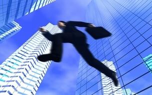 ビル街をジャンプしているビジネスマン CGの写真素材 [FYI03203085]