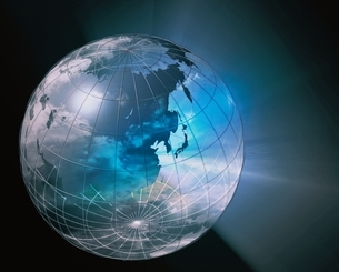 1個の地球儀と光 CGのイラスト素材 [FYI03203786]