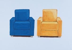 青と黄色の2つのソファ イラストのイラスト素材 [FYI03206431]