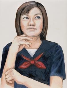 ひじをつく日本人女学生 イラストのイラスト素材 [FYI03206442]
