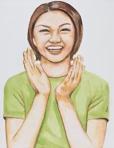 拍手する日本人女性 イラストのイラスト素材 [FYI03206452]