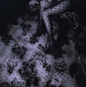 ストッキングをはいた女性の足 B/Wの写真素材 [FYI03206515]