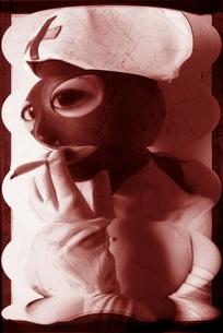 看護婦の制服と目抜きマスクをした女性 セピアの写真素材 [FYI03206550]