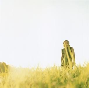 草原を歩く日本人中高年男性の写真素材 [FYI03207245]