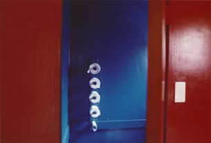 トリコロールカラーのトイレの写真素材 [FYI03207465]