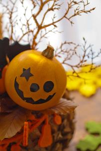 ハロウィンのお化けかぼちゃアレンジメントの写真素材 [FYI03207622]