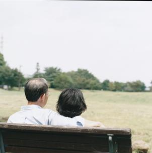 公園のベンチに座る日本人中高年夫婦の後姿の写真素材 [FYI03207948]
