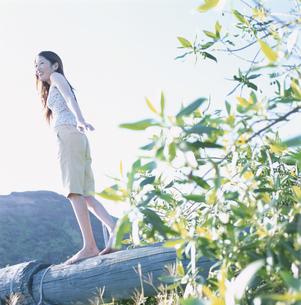 素足で丸太を渡る20代女性の写真素材 [FYI03209867]