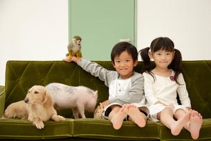 子供と動物の写真素材 [FYI03210279]
