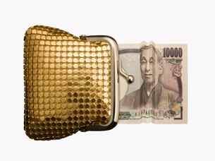 笑う福沢諭吉とゴールドの財布の写真素材 [FYI03213741]
