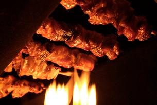 焼き鳥と炎の写真素材 [FYI03214039]