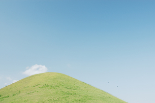 古墳と雲と鳥の写真素材 [FYI03214422]