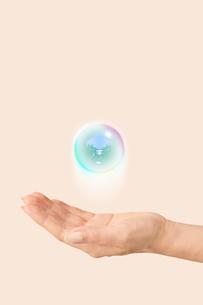 手のひらに浮かぶ森が映る球体の写真素材 [FYI03214510]