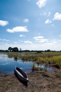 湖畔のカヌーと草原の写真素材 [FYI03214662]
