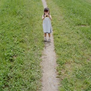 おもちゃのラッパを外で吹く女の子の写真素材 [FYI03215366]