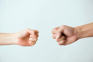 女性と男性の拳の写真素材 [FYI03215393]