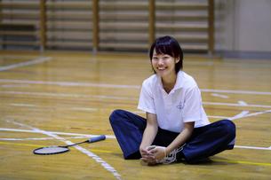 体育館で準備運動をする若い女性の写真素材 [FYI03215695]