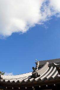 青空と瓦屋根の写真素材 [FYI03216786]