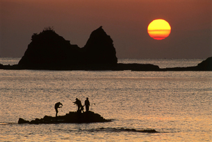 朝の磯釣り風景の写真素材 [FYI03217078]
