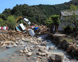 台風12号による那智川の水害の写真素材 [FYI03217155]