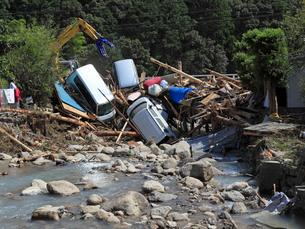 台風12号による那智川の水害の写真素材 [FYI03217169]