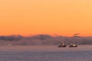 気嵐と漁船と工場の煙突の写真素材 [FYI03217875]