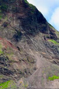 小笠原諸島 北硫黄島 南側長根鼻付近 崩れた土砂の写真素材 [FYI03218019]