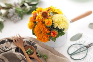 オレンジ色の花アレンジの写真素材 [FYI03219019]