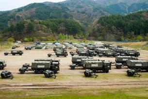 東日本大震災 岩手県釜石市の自衛隊キャンプ地の写真素材 [FYI03219744]