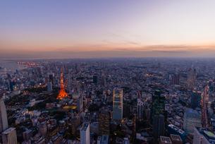 東京タワーの夜景空撮の写真素材 [FYI03219798]