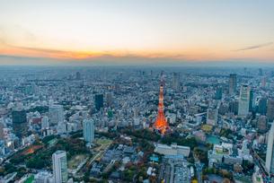 東京タワーライトアップ,空撮の写真素材 [FYI03219862]